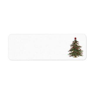 old fashion christmas tree address labels