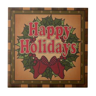 Old Fashion Christmas Wreath Tile