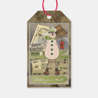 Old Fashion Green Vintage Snowman Gift Tags