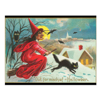 Old Fashion Halloween Witch, Flying, Black Kitty Postcard