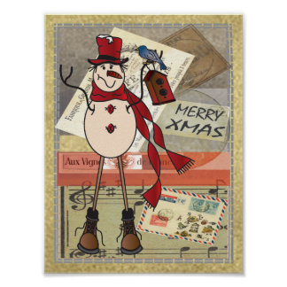 Old Fashion Red Snowman | Christmas Poster