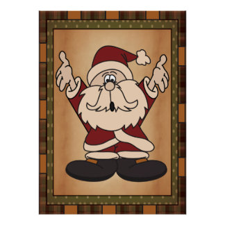 Old Fashion Styled Santa Art in Plaid Poster