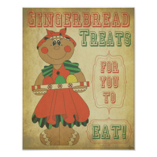 Old Fashion Vintage Gingerbread Girl Poster
