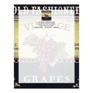 Old Fashion Vintage Grapes, Purple and Black Wine Letterhead
