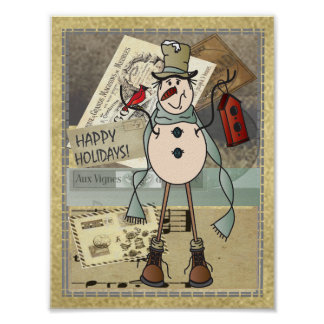 Old Fashion Vintage Style Blue Snowman Poster