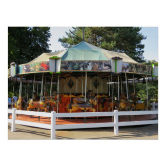Old Fashioned Antique Carousel Merry Go Round Poster