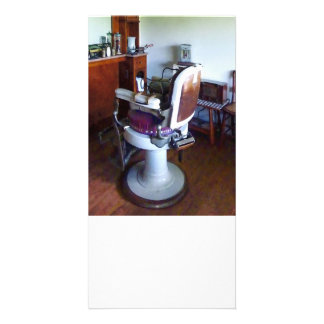 Old-Fashioned Barber Chair Customized Photo Card