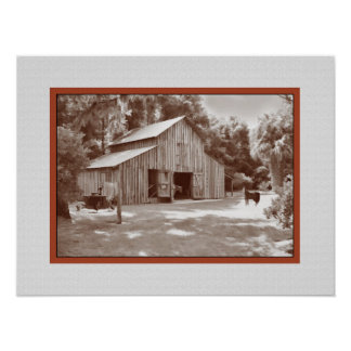Old Fashioned Barn Print in Sepia