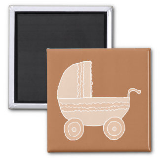 Old Fashioned Beige Baby Stroller on Brown. Refrigerator Magnets