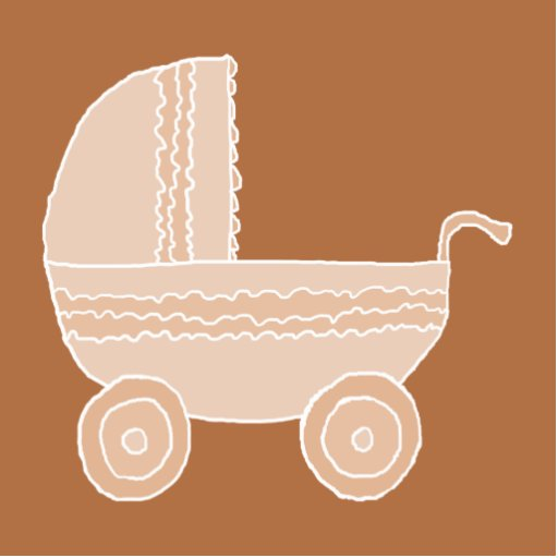 Old Fashioned Beige Baby Stroller on Brown. Acrylic Cut Out