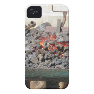 Old-fashioned blacksmith furnace . Burning coals iPhone 4 Case