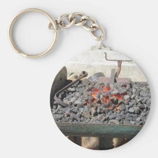Old-fashioned blacksmith furnace . Burning coals Keychain