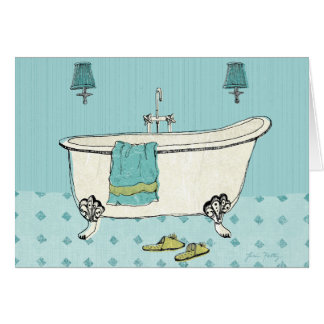 Old Fashioned Blue Bathroom Card
