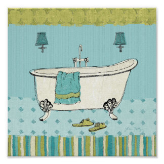 Old Fashioned Blue Bathroom Poster