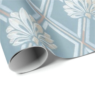 Old Fashioned Blue Lattice Fan Wallpaper Pattern Wrapping Paper