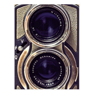 Old-fashioned camera postcard