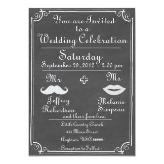 Old Fashioned Chalkboard Wedding Invitation