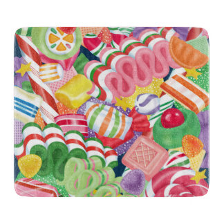 Old Fashioned Christmas Candy Glass Cutting Board