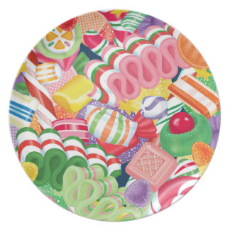 Old Fashioned Christmas Candy Melamine Plate