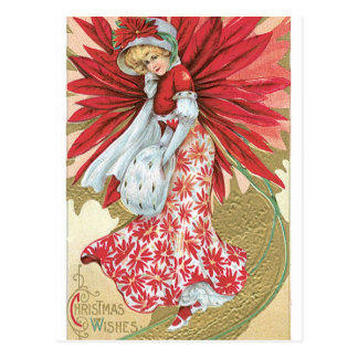 Old Fashioned Christmas Poinsettia Lady Post Card