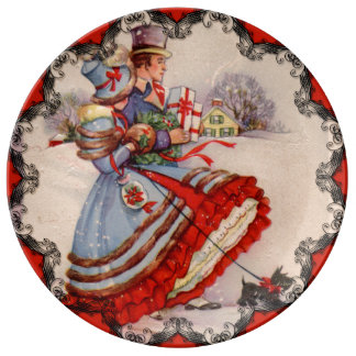 Old Fashioned Christmas Shopping Porcelain Plate