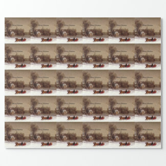 Old-Fashioned Christmas Sleigh Ride, Winter Scene Wrapping Paper