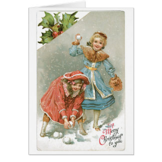 Old-fashioned Christmas, Snowball fight Card