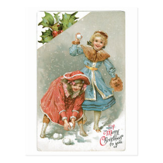 Old-fashioned Christmas, Snowball fight Postcard