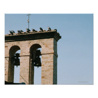 Old-fashioned church bells, Assisi, Italy Poster