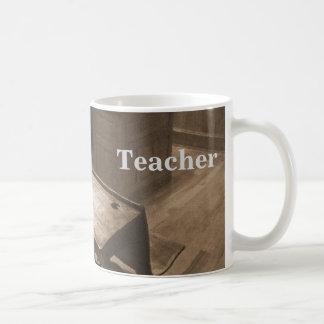 Old-fashioned classroom in sepia classic white coffee mug