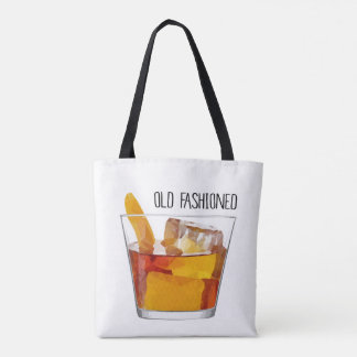 Old Fashioned Cocktail Print Canvas Tote Bag