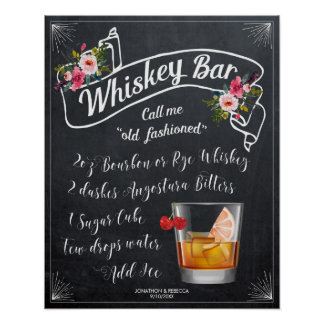 old fashioned cocktail whiskey bar sign wedding
