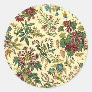 Old Fashioned Floral Abundance Round Sticker