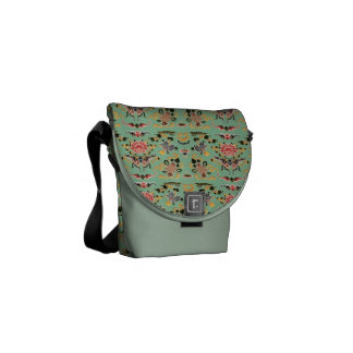 Old Fashioned Floral on Mint Commuter Bags
