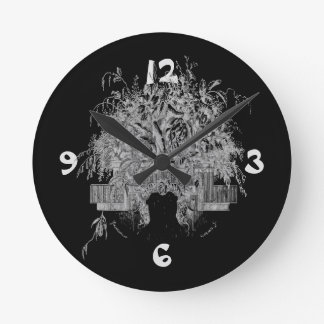 Old fashioned flowers round clock