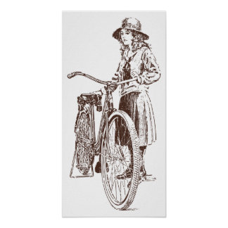 Old Fashioned Girl and Bicycle Poster