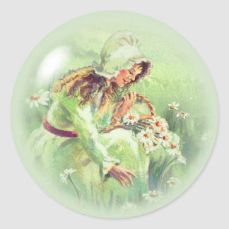 OLD FASHIONED GIRL by SHARON SHARPE Classic Round Sticker
