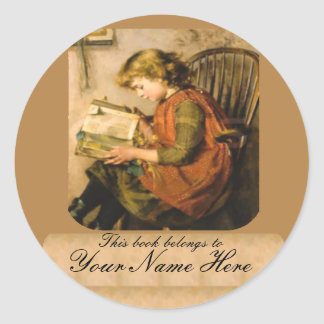 Old Fashioned Girl Reading Classic Round Sticker