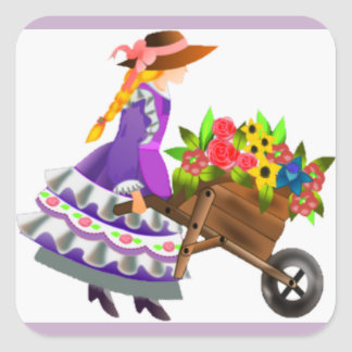 Old Fashioned Girl & Wheelbarrow of Flowers Stamps Square Sticker