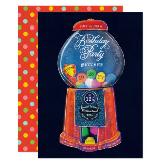 Old Fashioned Gumball  Machine Birthday Party Card