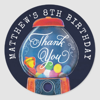 Old Fashioned Gumball Machine Birthday Thank You Classic Round Sticker
