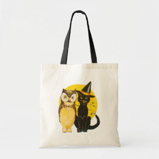 Old-fashioned Halloween, Black cat & Owl Tote Bag