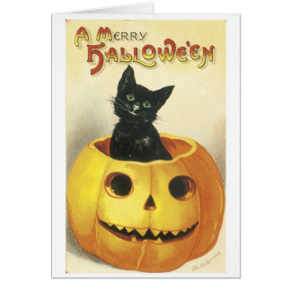 Old-fashioned Halloween Jack-o'-lantern, Black cat Card