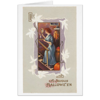 Old-fashioned Halloween, Lady with a Hand mirror Card