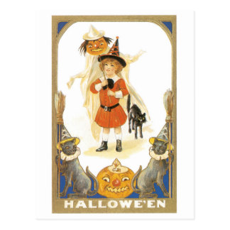 Old-fashioned Halloween, Witch girl Postcard