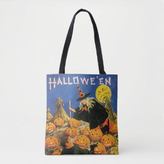 Old-fashioned Halloween, Witch & Pumpkins Tote Bag