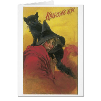 Old-fashioned Halloween, Witch with Black cat Card