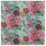 Old Fashioned Hollyhock Summer Bouquet Fabric