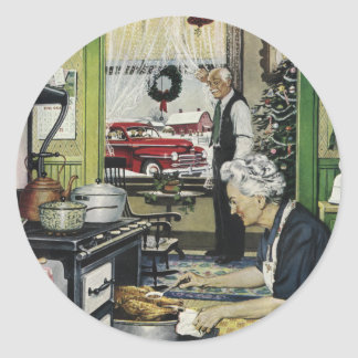 Old Fashioned Home Kitchen Christmas Classic Round Sticker