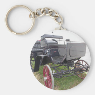 Old-fashioned horse carriage on green grass basic round button keychain